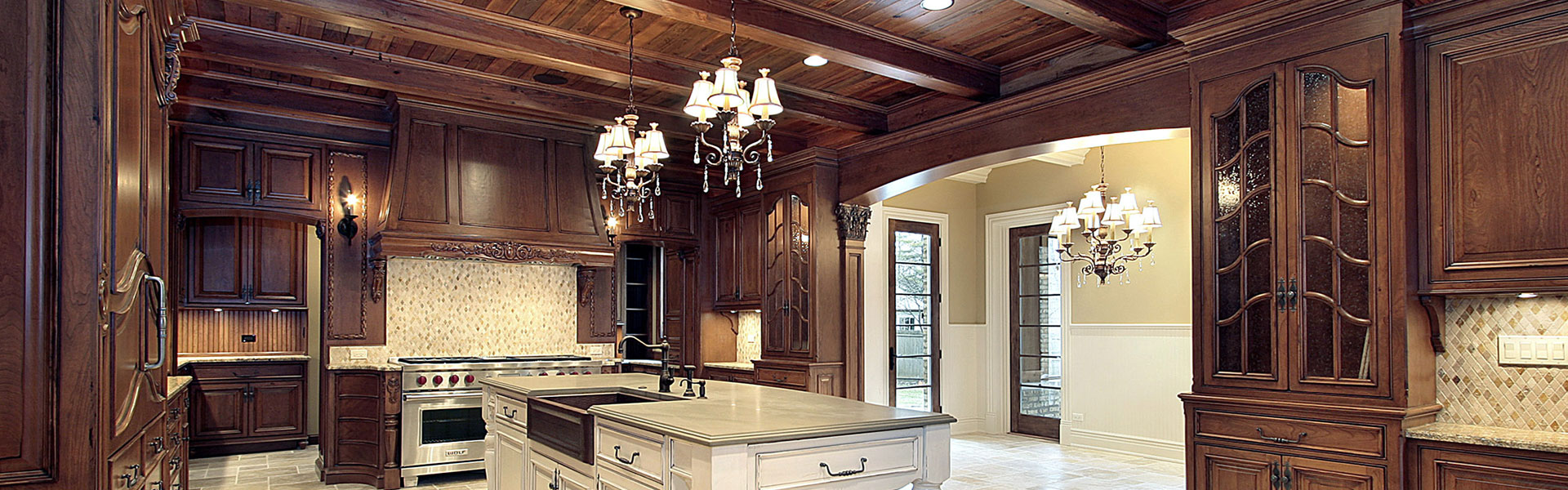Kitchen With Wood Ceilings